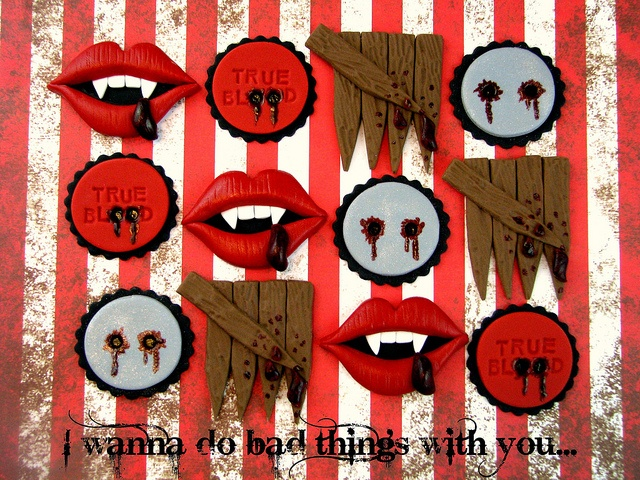 True Blood Cupcake Toppers by Lynlee's Petite Cakes, via Flickr