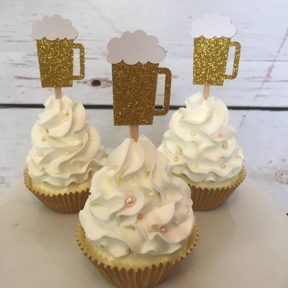 24 Beer mug cupcake topper, 21st birthday, 30th birthday, cheers to 30 years, dirty thirty, thirsty thirty, cupcake toppers