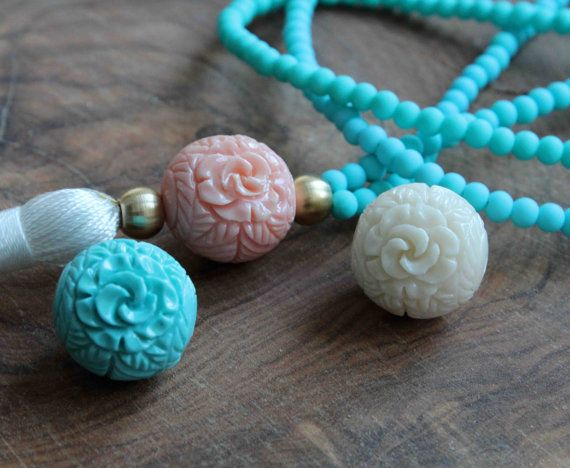 Long Beaded NecklaceTurquoise necklace  White by lizaslittlethings, $30.00