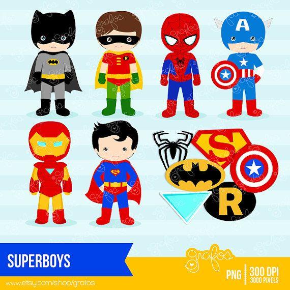 SUPERBOYS Digital Clipart ,Superhero Clipart , Super Hero Clipart / Instant Download on Etsy, $5.00