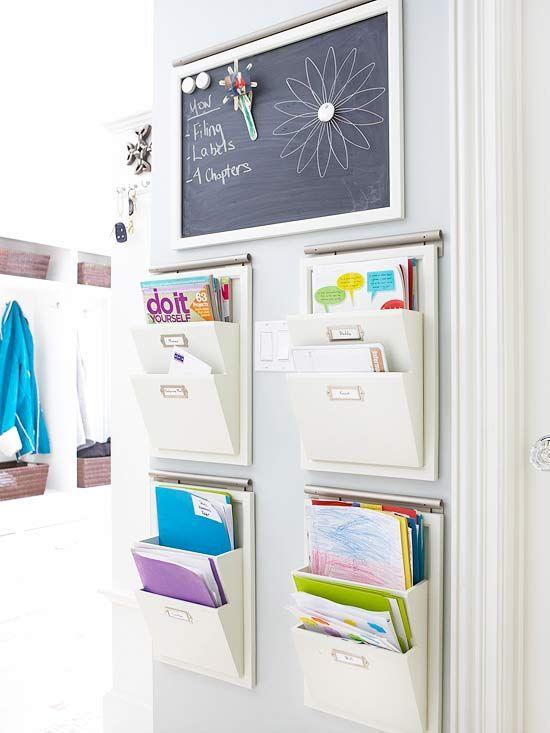 A homework drop zone--genius!: Families Organizations, Paper Organizations, Command Center, Organizations Ideas, Schools Stuff, Organizations Stations, Schools Work, Kitchens Counter, Command Central