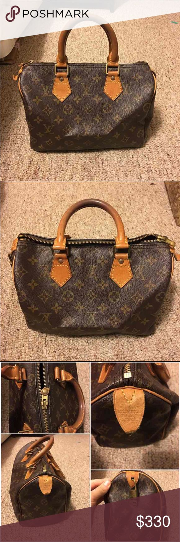 Authentic Louis Vuitton speedy 25 A preowned Authentic LOUIS VUITTON monogram speedy 25  Serial Number : VI 0914  Made in FRANCE  OUTSIDE Monogram Leather is in great condition.  HANDLE has some scratches, darker spot,stain   INSIDE is almost clean  No bad smell just material  No box and dust bag. It comes with padlock key  Please see all pictures if you have any question please let me know %100 authentic and fast shipping! Bags Satchels