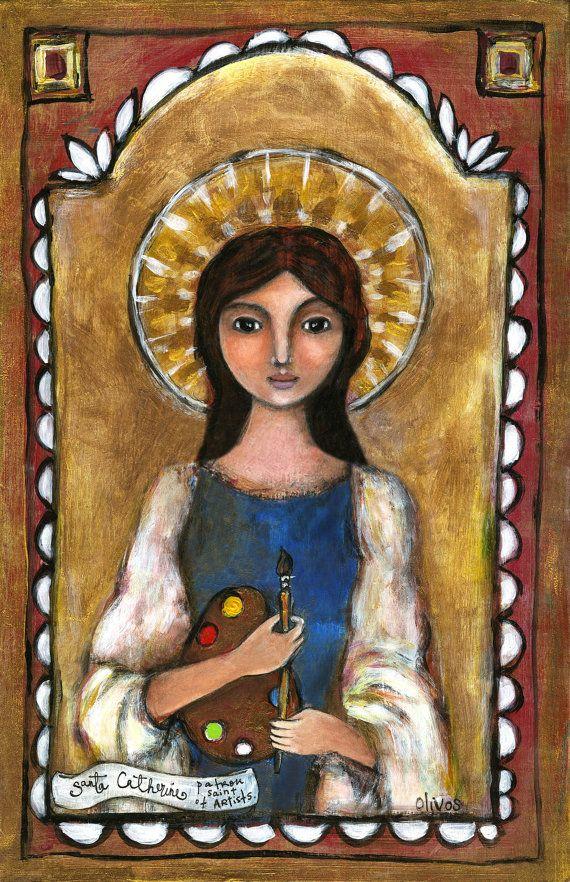 Saint Catherine Patron Saint of Artists Santa Catholic icon spiritual art angel art angelic santos artistic artists by OlivosARTstudio on Etsy