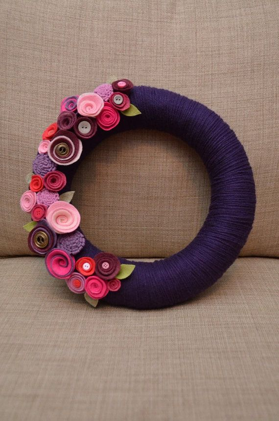 Yarn Wreath  VALENTINE'S DAY   12 inch Purple by GoshYarnItWreaths, $50.00  Love the color combination
