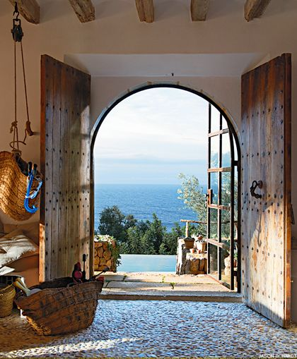 Villa in Majorca,Perfect pebbles floor, ,beautiful door and a breathtaking view...