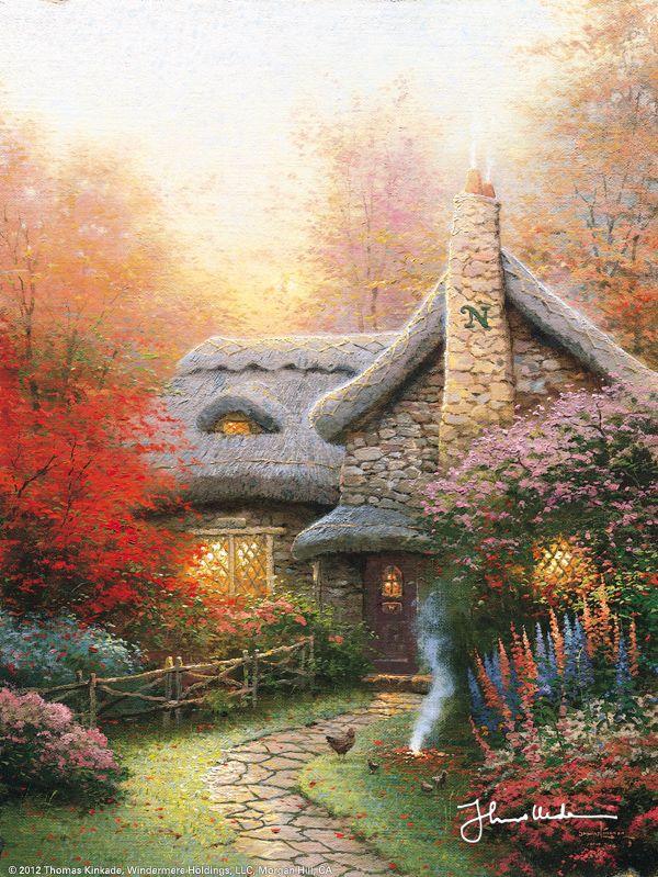 Autumn At Ashley's Cottage by Thomas Kinkade Aren't Cottages always so quaint? Love 'em!