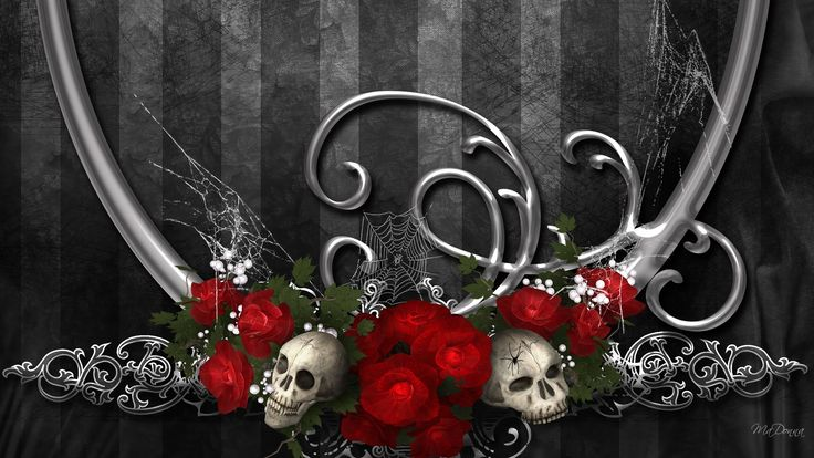 skull and roses wallpapers hd roses of darkness wallpaper ...