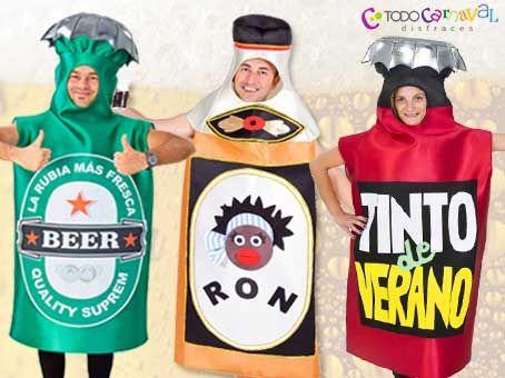Disfraces de #botellines #cerveza ,#ron y #tintodeverano www.todocarnaval.com
