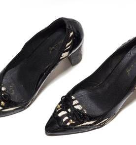 Sapato com detalhe de zebra e com salto