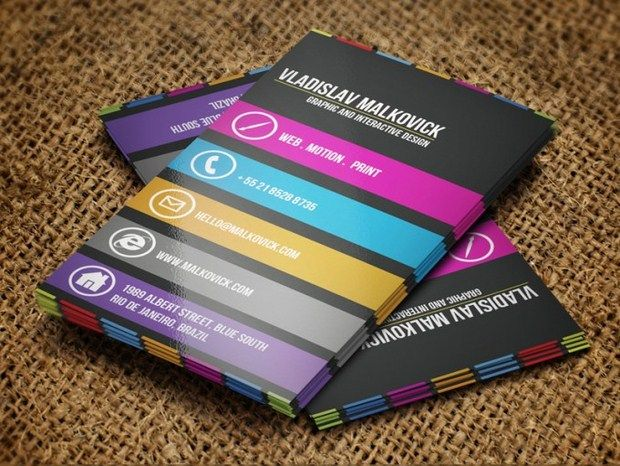 I really like these cards. They remind me of a layout for a mobile website. I love how simple the design is. The colors really make it stand out.