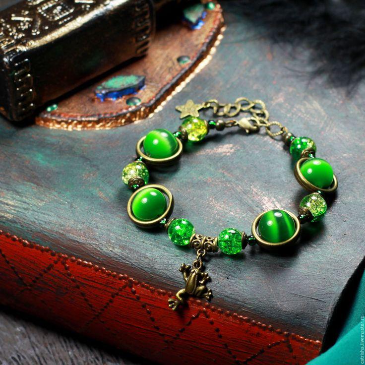 Купить Крупный зеленый браслет Лягушка, мистика, ворожея ведьма, бохо, сказка