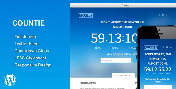 WP Countie: Responsive Countdown Landing Page   http://codecanyon.net/item/wp-countie-responsive-countdown-landing-page/7143542?ref=damiamio       WP Countie is a simple, clean and fully responsive mobile friendly landing page Wordpress plugin.   The WP Countie is very minimalistic and lightweight. It contains a customizable Countdown Clock, MailChimp and Twitter Feed options. Template also comes with a LESS Stylesheet file that you can use to customize the page however you would like…