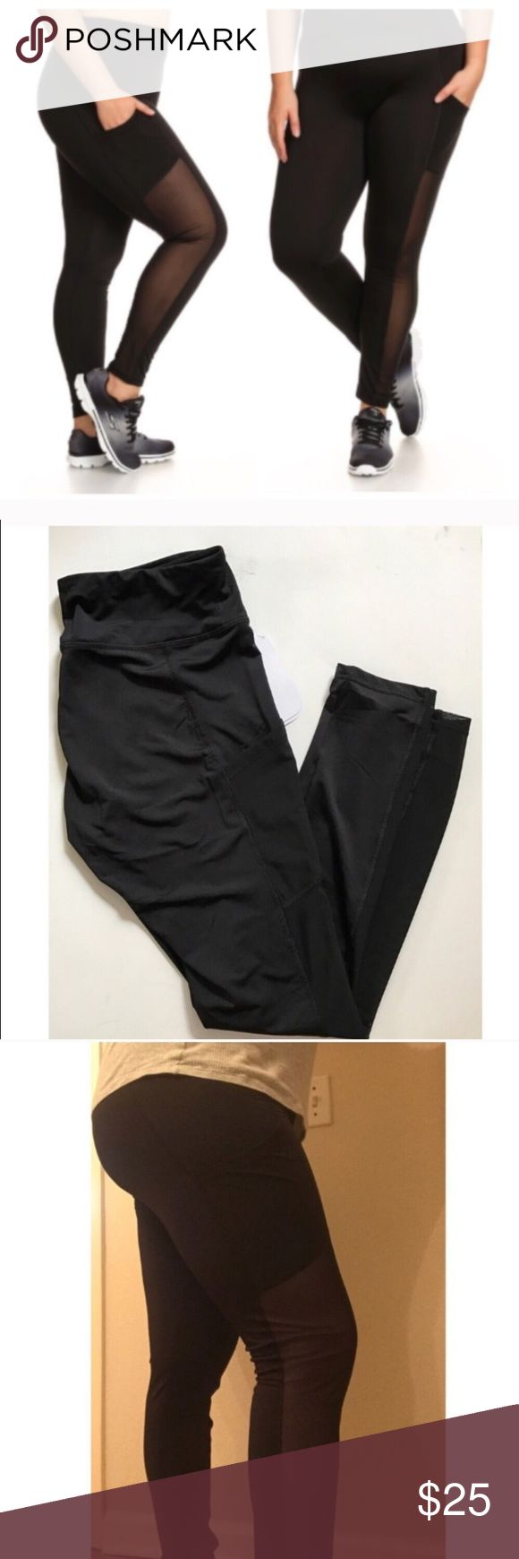 """(Plus) Black mesh athletic pants Black mesh panel gym pants. Polyester/ spandex combo. For reference I am a 2x and I'm wearing the 2x and they fit really well overall. I have super small calves so they do not fill out the mesh portion 😭 Fits an iPhone 7 perfectly!  1x: Inseam: 29"""" Waistband: 30-38"""" 2x: Inseam: 29"""" Waistband: 32-40"""" 3x: Inseam: 29.5"""" Waistband: 34-42"""" ⭐️This item is brand new with tags 💲Price is firm unless bundled ✅Bundle offers Availability: 1x•2x • 3•2 Pants Leggings"""