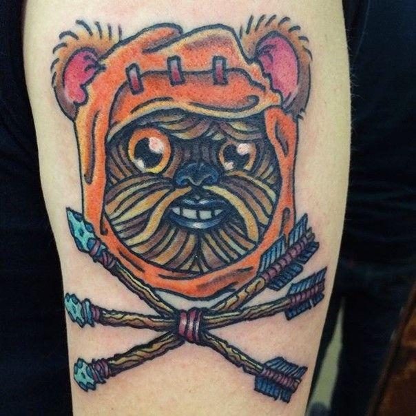 ewok star wars tattoo-21