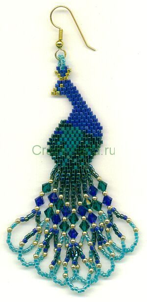 Beautiful (& free!) beaded peacock earrings pattern, could also work as a necklace feature pendant
