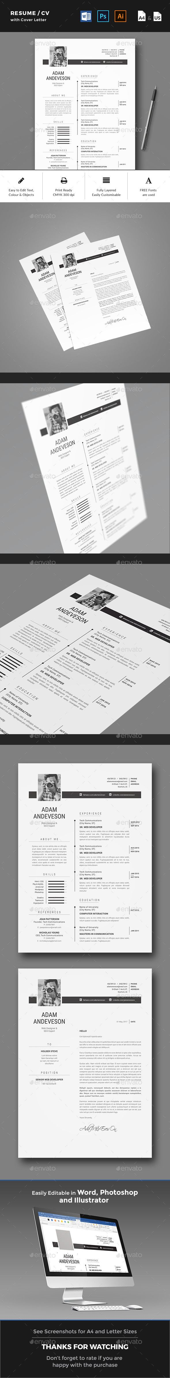 Resume / CV by yellowkyte Resume / CV Template A professional and clean Resume Template with Cover Letter to make a good impression. FEATURESPrint-ready-CMY