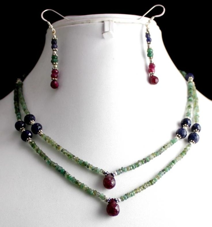 134ct Silver 925 Ruby Emerald Sapphire Gemstone Jewlery Necklace Earrings Set(kge134ct),for further details,visit us at www.krishnagemsnj...
