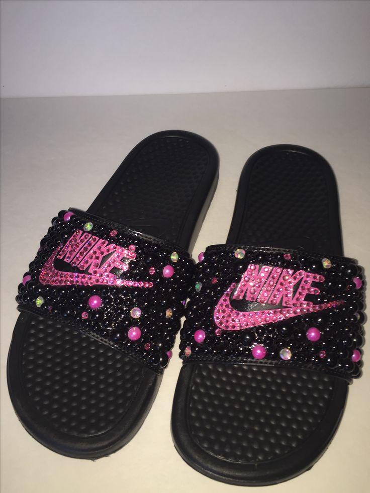 Custom Bling Nike Flip Flop Slides Benassi Embellished -5366
