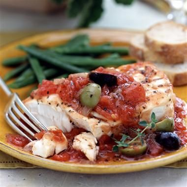 Mediterranean Fish Fillets: This delicious healthy recipe brings the flavors of the Mediterranean to your home. Canned, diced tomatoes are a great time saver for weeknight meals.