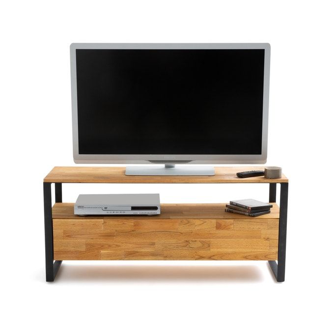 Banc Tv Chene Massif Aboute Et Acier Hiba Naturel La Redoute Interieurs La Redoute In 2020 Oak Tv Unit Solid Oak Tv Unit Solid Oak