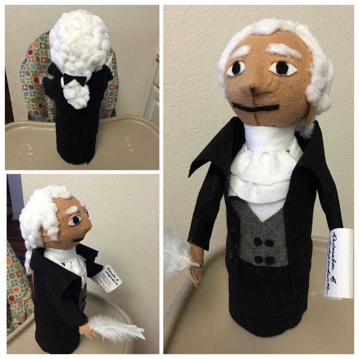 Thomas Jefferson Doll // Materials // styrofoam ball (for head)- 2 liter soda plastic bottle (body)- felt for clothing, arms, skin etc...- cotton balls for hair- Buttons for the coat- Glue gun and glue sticks- *Optional- feather and rolled paper (Declaration of independence ) -//Notes// I used a piece of cardboard glued onto the styrofoam ball to form the nose before I covered it in felt! Cover the area where the face will be with as much felt as possible, the uncovered parts at the back of…