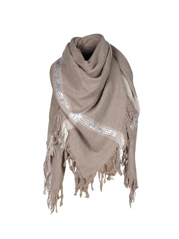 - Plaid scarf - clay - taupe -