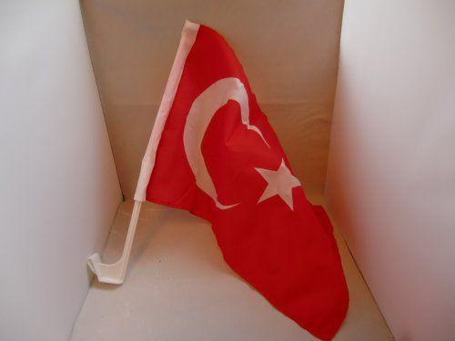 Drapeau Turquie pour voiture avec bâton env. 30 x 45 cm: Drapeau Turquie pour voiture avec bâton env. 30 x 45 cm env. 30 x 45 cm avec bâton…
