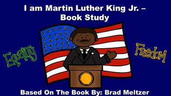 "This product goes along with the book ""I am Martin Luther King, Jr."", by Brad Meltzer. This book tells about the life and accomplishments of Dr. Martin Luther King, Jr. from his point of view.  This non-fiction book study contains the following components: anticipation guide, review quiz, glossary page, vocabulary review, sequencing activity, word cards, and MLK writing paper."