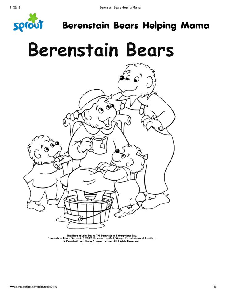 Color in the Bernstein Bears! I was selected for this ...
