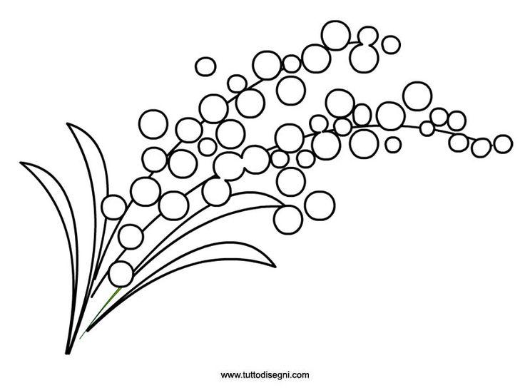 Веточка мимозы шаблон для рисования
