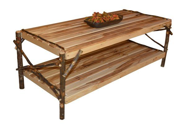 Amish Hickory Solid Wood Coffee Table With Shelf Solid Wood