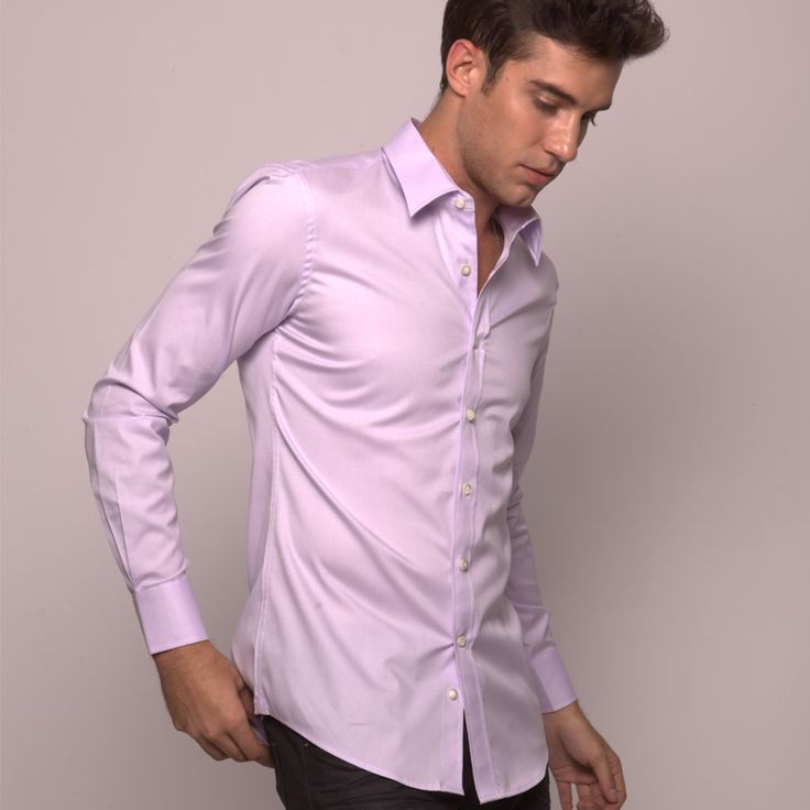 Lavender custom dress shirt by michelozzo http www for Pastel colored men s t shirts