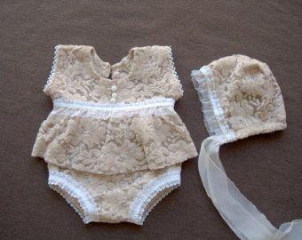Fotografía recién nacidos Prop crema Bonnet bebé de tela por zoik