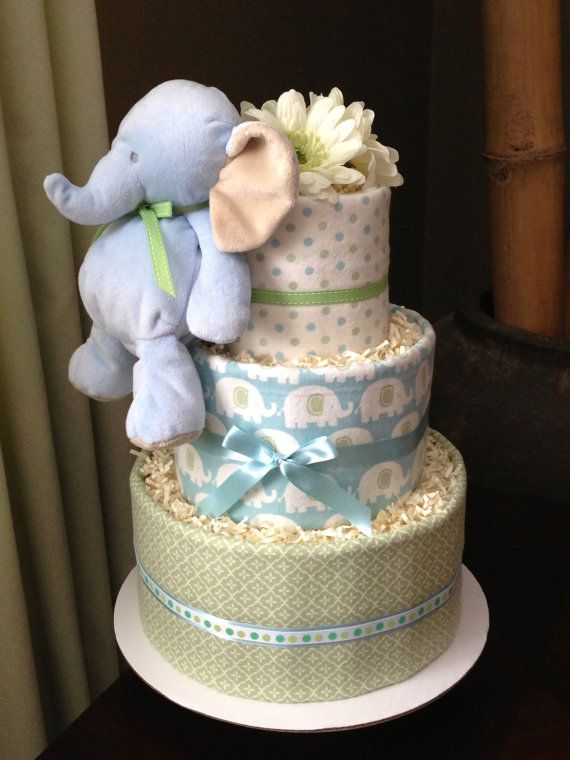 elephant diaper cake baby boy blue and green elephant neutral cake for 3878
