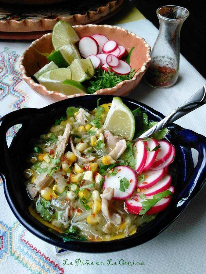 Pozolillo de Pollo-Fresh Corn Chicken Soup in a Poblano Tomatillo Broth