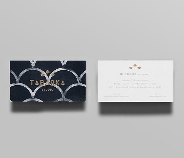 Business card with gold foil print treatment designed by Anagrama for tile specialist Tabarka Studio.
