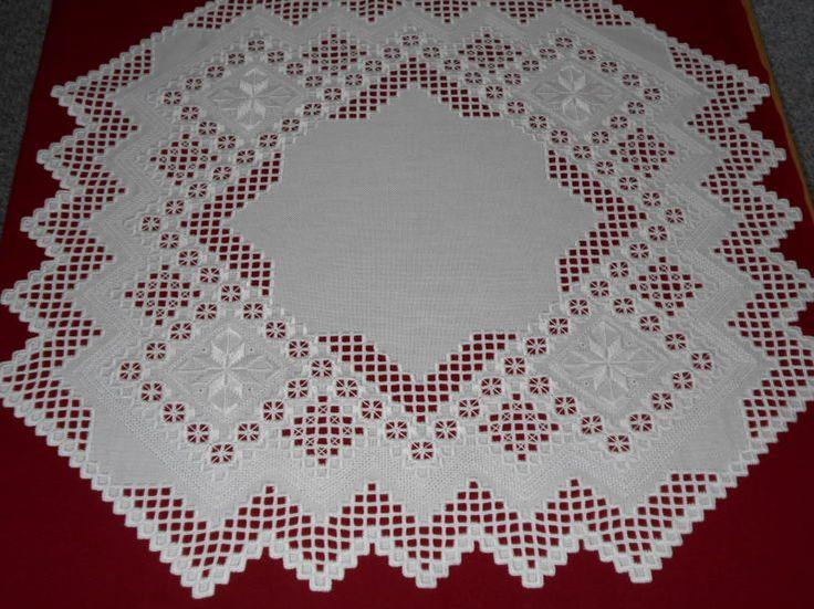 White on white Hardanger 26-3/4 inches square