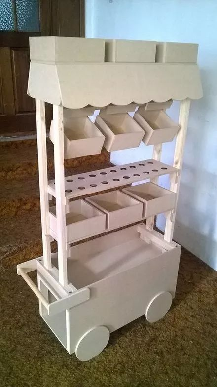 Carro dulcero mdf candy bar mueble dulces altura for Mobiliario de bar