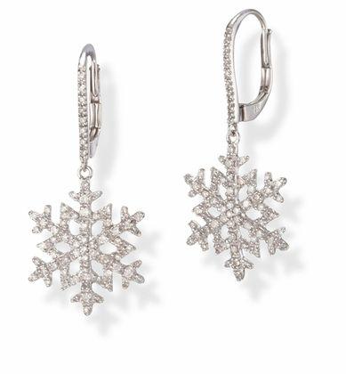 14k White Gold Diamond Snowflake Earrings