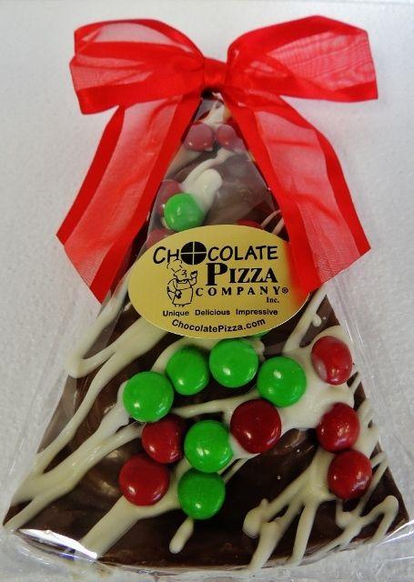 Chocolate Pizza Company - Chocolate Pizza® (Christmas Tree Slice, milk or dark choc., 6 oz), $8.50 (http://www.chocolatepizza.com/chocolate-pizza-christmas-tree-slice-milk-or-dark-choc-6-oz/)
