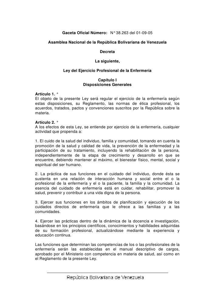 Gaceta Oficial Número: N° 38.263 del 01-09-05       Asamblea Nacional de la República Bolivariana de Venezuela            ...