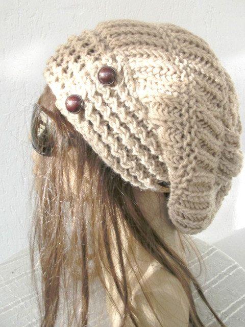 Hand Knit Hat Womens hat  Winter  hat   chunky knit by Ebruk, $38.00