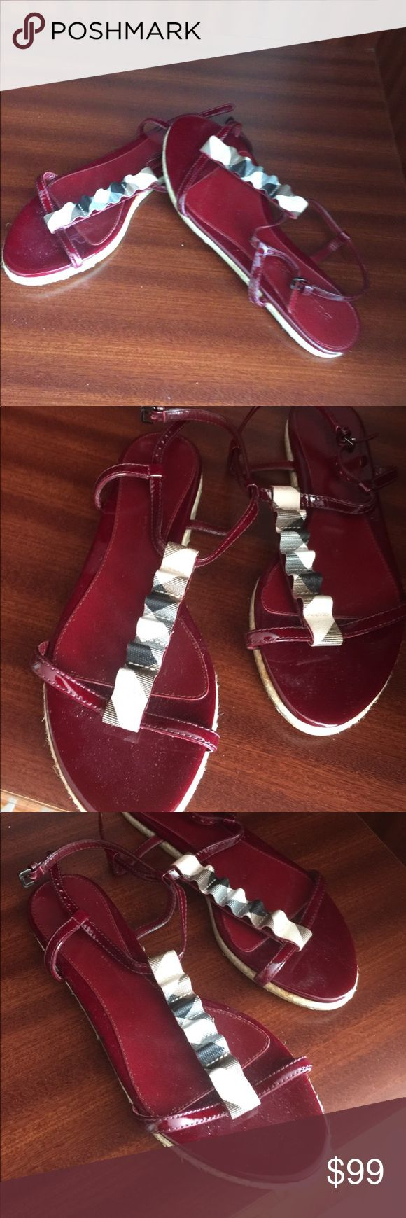 New Burberry women's sandals Size40 Very beautiful burgundy color Slingbacks trimmed with Burberry coloring material Burberry Shoes Sandals