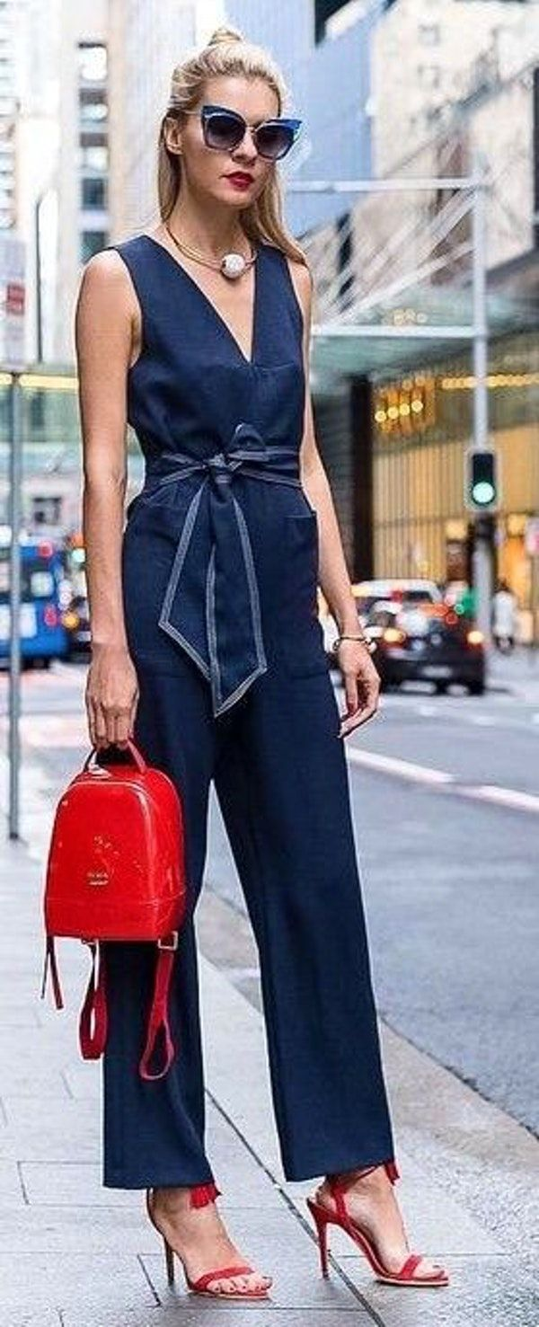 #thetrendspotter #popular #elegance #style | Navy Jumpsuit + Pop Of Red