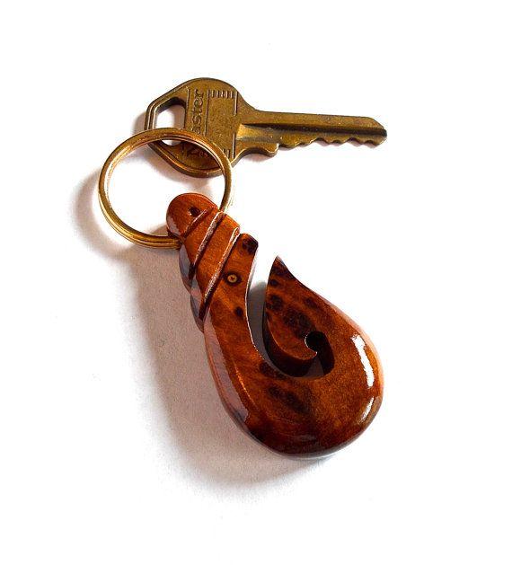 Fishhook Keychain  Amboyna Burl with Walnut Wood  by DustyNewt