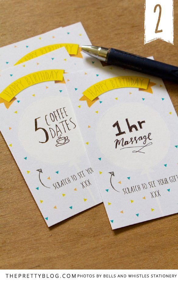 For those of you who love adding something personal or hand-made to a birthday gift, this is a super fun and simple way to take birthday vouchers to the next level. By making them into scratch cards! Diane Gush from Bells and Whistles Stationery in Port Elizabeth dreamed up this cute craft project.