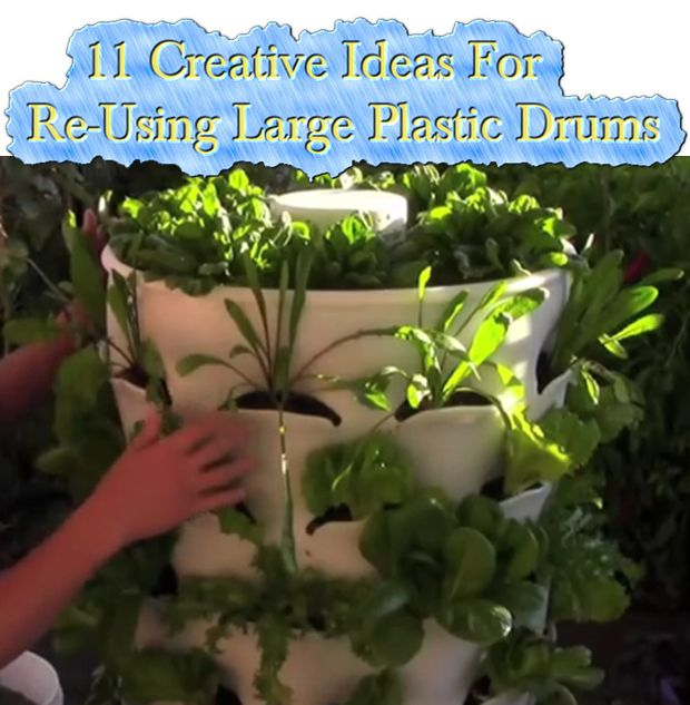 11 Creative Ideas For Re-Using Large Plastic Drums  Read HERE --- > http://www.livinggreenandfrugally.com/11-creative-ideas-re-using-large-plastic-drums/