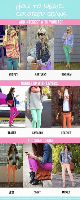 Different ways to wear colored jeans. LOVE coloured jeans!!
