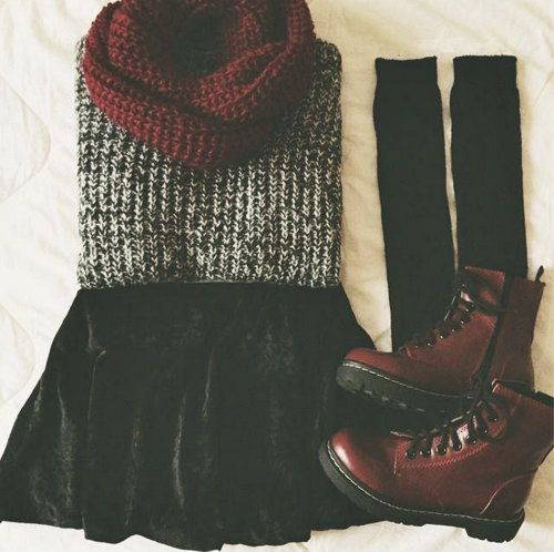 3. Steel knit sweater and rugged black floppy skirt, with maroon scarf, black knee high socks, and dark crimson combat boots