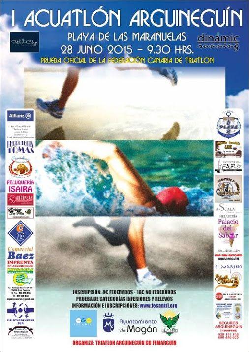 * * * Aquathlon Sports Event Arguineguín * * *  This Sunday, June 28th, the first ever Aquathlon will take place in Arguineguín (Mogán) Gran Canaria. The competition will be held on the beach of Marañuelas and starts at 9:30am.  #aquathlon #duathlon #triathlon #sports #event #arguineguin #mogan #grancanaria #canaryislands #spain    #Acuatlón #Duatlon #triatlon #eventos #deportes #arguineguin #mogan #grancanaria #islascanarias #españa    Whats on in Gran Canaria - Google+